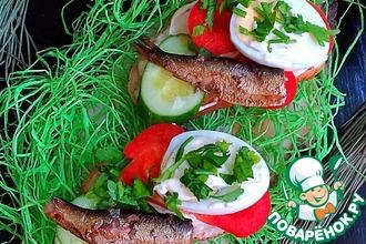 Рецепт: Бутерброды со шпротами Ностальгия