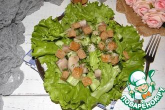 Рецепт: Салат с сельдью и гренками