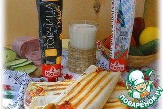Рецепт: А-ля буррито с ветчиной и овощами