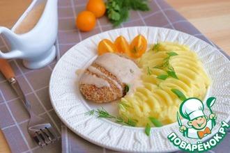 Рецепт: Куриные котлеты с грибами под соусом