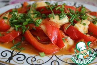 Рецепт: Теплый салат из перца с сыром