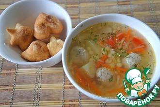 Рецепт: Суп с фрикадельками и пастой птитим