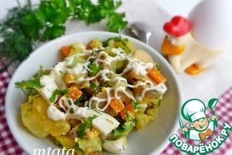 Рецепт: Салат с маринованными шампиньонами и огурцом