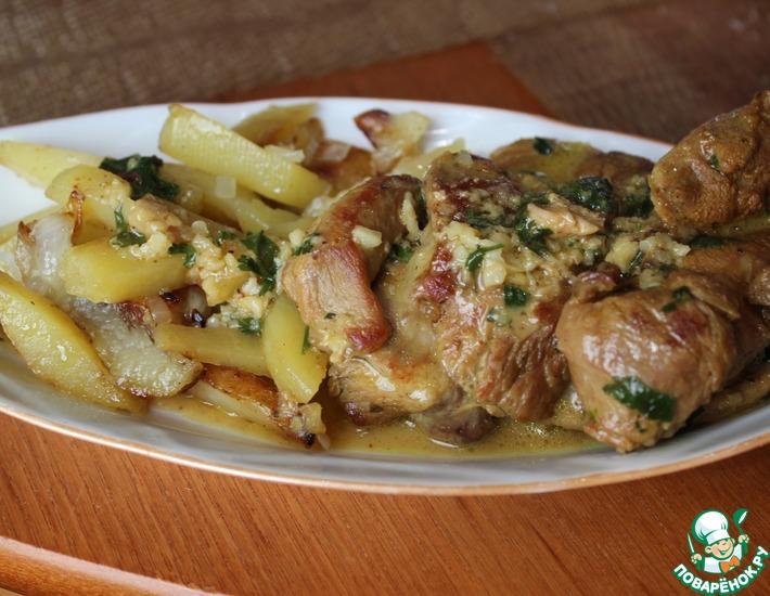Рецепт: Индейка в чесночной заливке