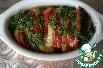 Рецепт: Теплый салат из помидоров с сыром