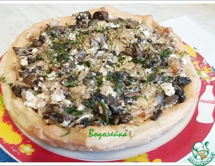 Рецепт: Открытый пирог с грибами и фетой