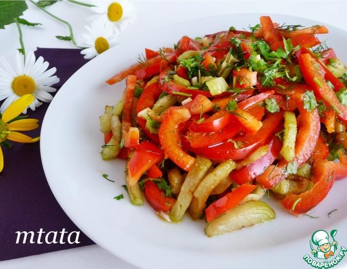 Рецепт: Салат из баклажанов с перцем и чесноком