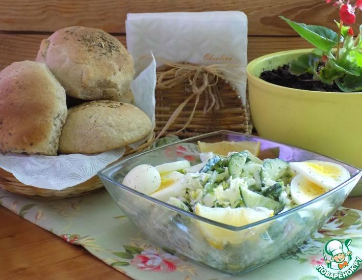 Рецепт: Салат с капустой и зернистым творогом