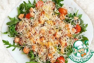 Рецепт: Салат с красной рыбой и рукколой
