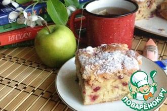 Рецепт: Немецкий яблочный пирог с брусникой
