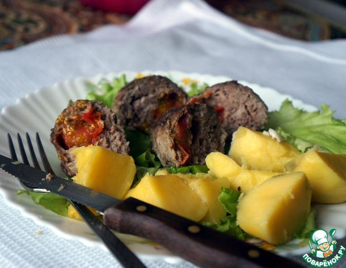 Рецепт: Котлеты домашние с помидорами черри