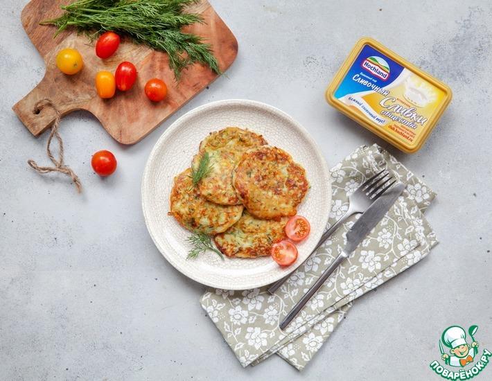 Рецепт: Кабачково-сырные оладьи