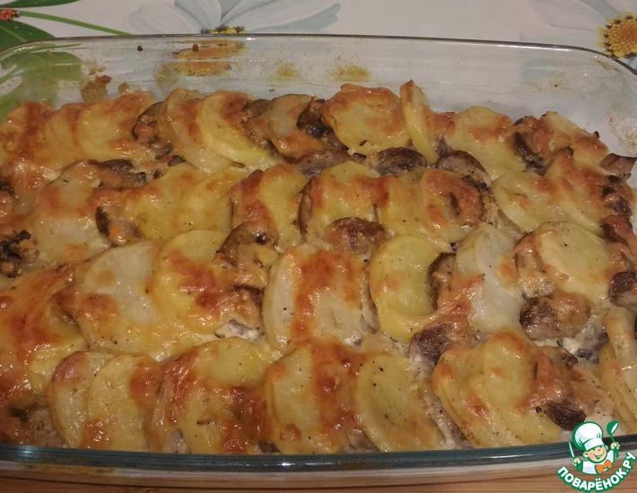 Рецепт: Мясо, запечённое с картофелем и грибами