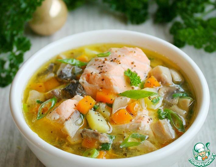 Рецепт: Суп из лосося с грибами