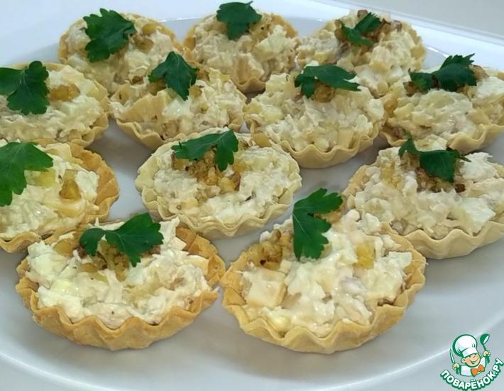 Рецепт: Тарталетки с курицей и ананасами