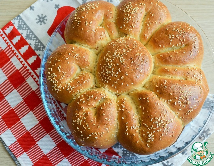 Рецепт: Пирог с сыром и зеленью Цветик-семицветик