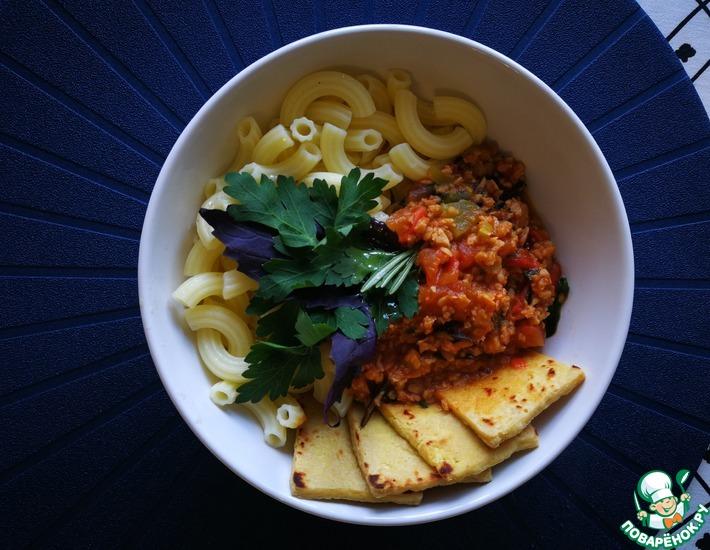 Рецепт: Безглютеновые макароны с соусом и сыром тофу