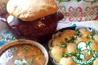Рецепт: Украинский борщ в горшочке с пампушками