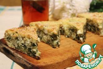 Рецепт: Заливной пирог с зеленью и яйцом