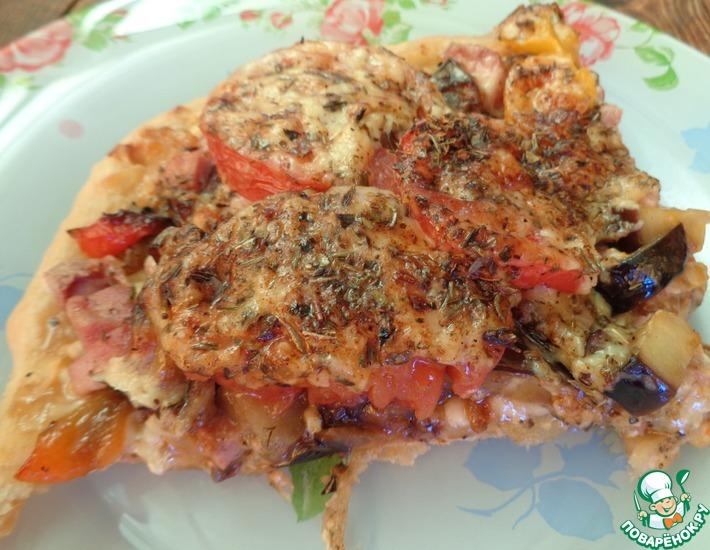 Рецепт: Пицца с перцем и баклажаном