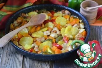 Рецепт: Овощное рагу с курицей и нутом