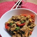 Рис с курицей и овощами Теппаньяки
