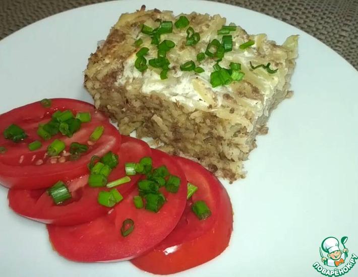Рецепт: Запеканка вермишелевая с отварным мясом