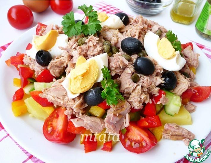 Рецепт: Салат из тунца с овощами