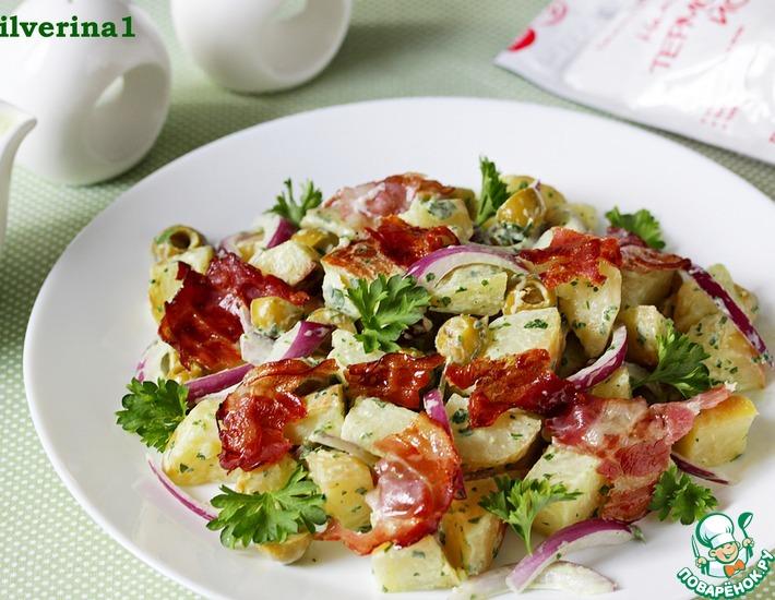Рецепт: Картофельный салат с йогуртовым соусом