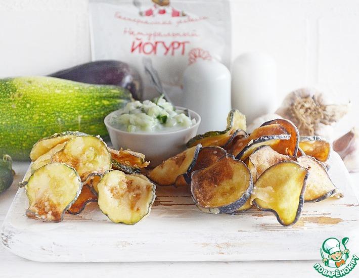Рецепт: Овощные чипсы с огуречной раитой