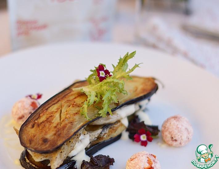 Рецепт: Мильфей из баклажанов с йогуртовым соусом