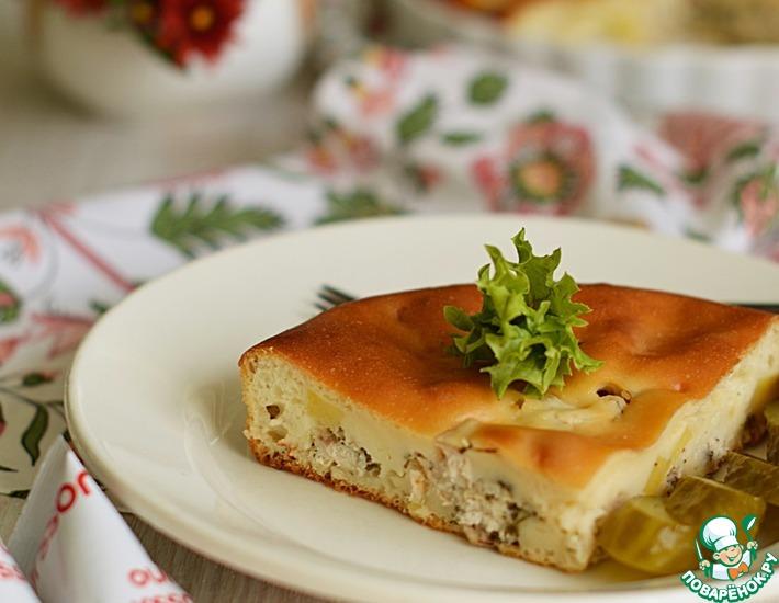 Рецепт: Заливной пирог с курицей и картофелем