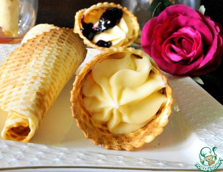 Рецепт: Вафельные рожки с кремом Пломбир