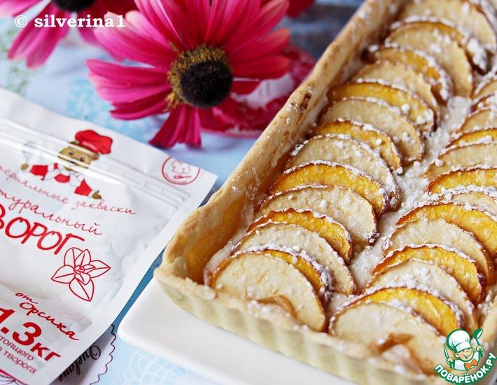 Рецепт: Тарт с творогом, персиком и яблоком