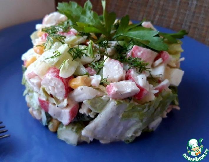 Рецепт: Крабовый салат с пекинской капустой