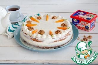 Рецепт: Морковный торт с сырной глазурью