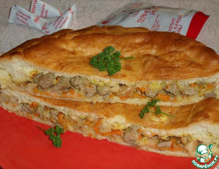 Рецепт: Пирог с куриной печенью и овощами