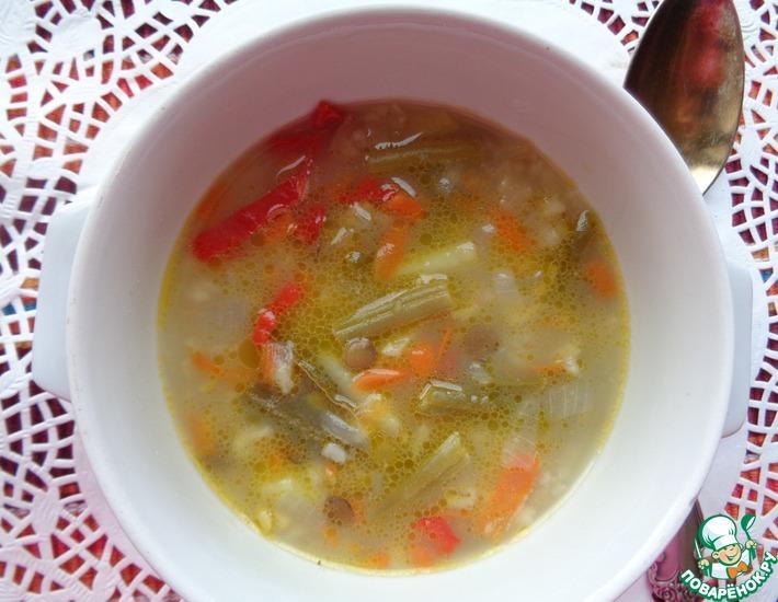 Рецепт: Суп из зеленой фасоли с бобовыми