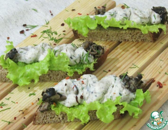 Рецепт: Сырно-творожная намазка с грибами