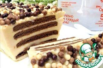 Рецепт: Десерт из ряженки с шоколадным печеньем