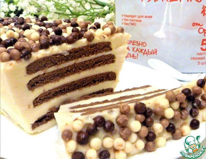 Десерт из ряженки с шоколадным печеньем