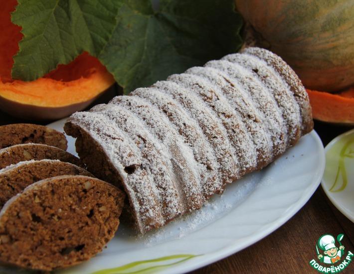Рецепт: Шоколадно-тыквенный кекс с орехами