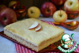 Рецепт: Пирог с яблоками и творогом