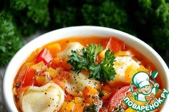 Рецепт: Суп с пельменями и тыквой Осенний