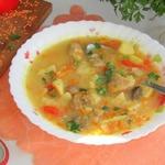 Суп из красной чечевицы с грибами