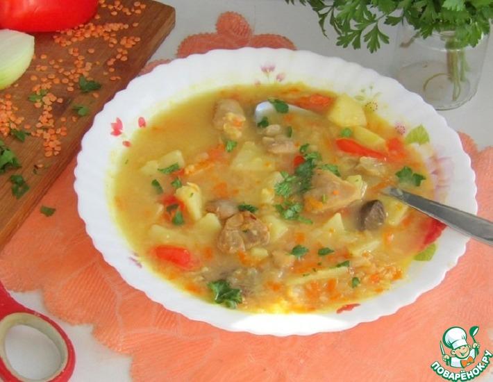 Рецепт: Суп из красной чечевицы с грибами