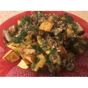 Баклажаны «Грибочки» с картофелем