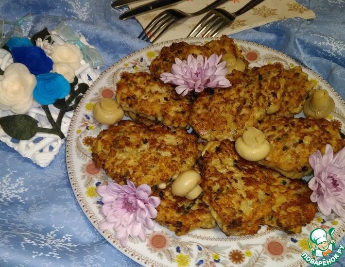 Рецепт: Мясные оладьи с грибами
