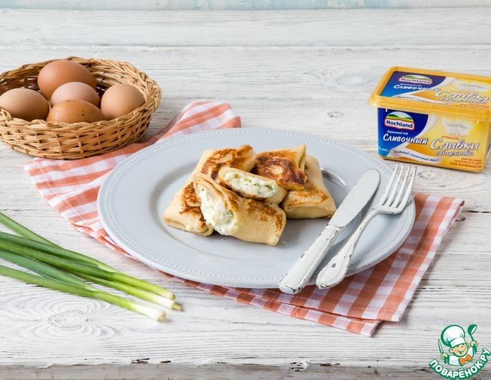 Рецепт: Блинчики с сыром и зеленым луком