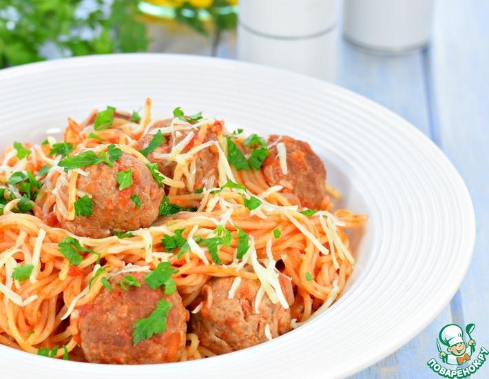 Рецепт: Спагетти с фрикадельками в томатном соусе